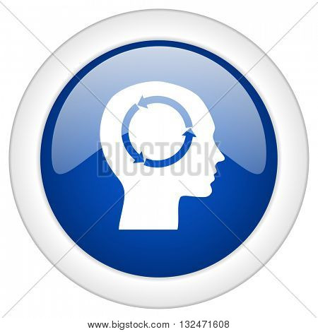 head icon, circle blue glossy internet button, web and mobile app illustration