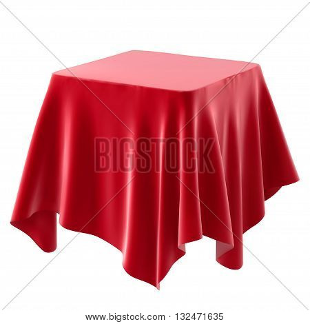 red tablecloth. isolated on white background. vector illustration.