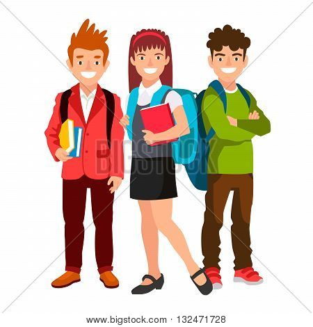 The girl and two boys. Students with backpacks and book. The concept of school education. Vector illustration on white background. Back to school.