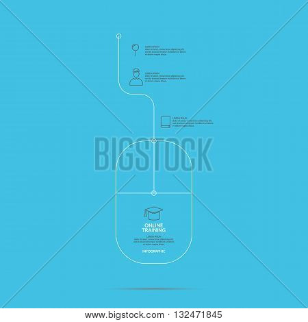 Vector illustration of icons for online training about Income and success in a linear style on a light blue background ideal for design site infographics poster advertising and presentations.