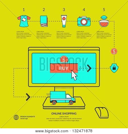 Vector illustration online shop in flat style with computer car delivery and related icons on a bright green background. Ideal for design site infographics poster advertising and presentations.