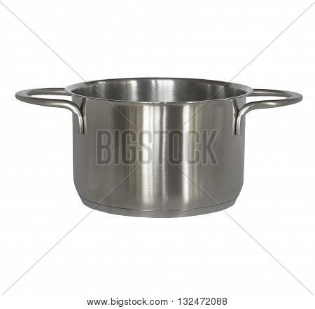 Clean new metallic cooking pot isolated on white.