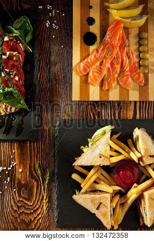 Snack Set - Club Sandwich, Caprese Salad and Cured Salmon