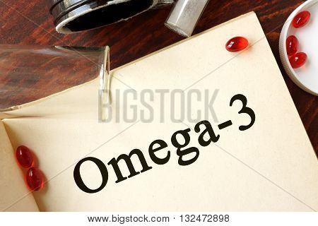 Omega-3 written on a page. Chemistry concept.