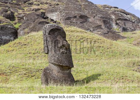 Moais at Rano Raraku stone quarry on Easter Island in Chile.