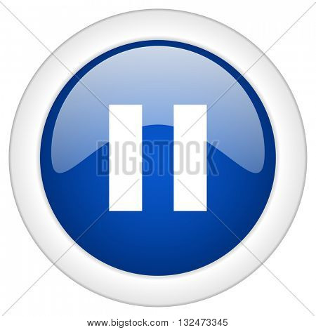 pause icon, circle blue glossy internet button, web and mobile app illustration