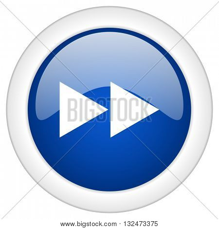 rewind icon, circle blue glossy internet button, web and mobile app illustration