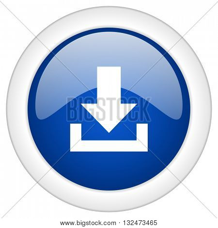 download icon, circle blue glossy internet button, web and mobile app illustration