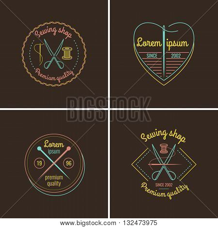 Set of sewing items tailor accessories in linear cartoon style on a brown background. Vector illustration for design of logos websitesleaflets flyers and advertising