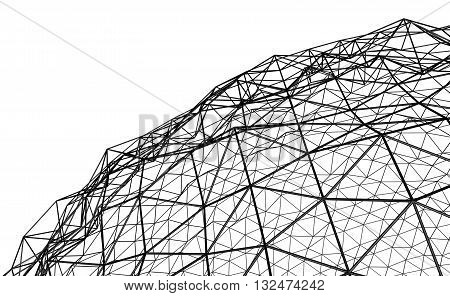 Illustration 3D - Irregular spherical black grid on white background.