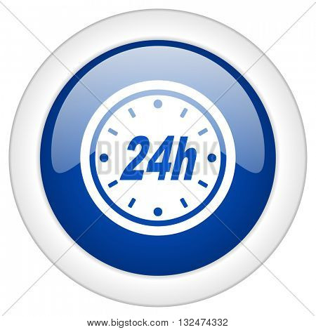 24h icon, circle blue glossy internet button, web and mobile app illustration