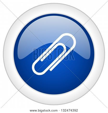 paperclip icon, circle blue glossy internet button, web and mobile app illustration
