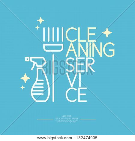 Vector illustration of a cleaning in a linear style on a blue background. Logo and design elements with a brush for cleaning.