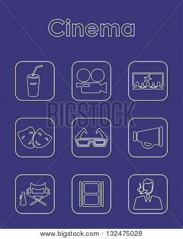It is a illustration Set of cinema simple icons