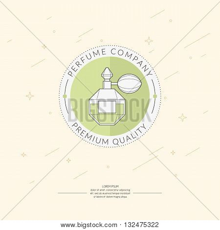 Vector illustration of a bottle of perfume on light green background. The elements and logo ideal for design card poster.