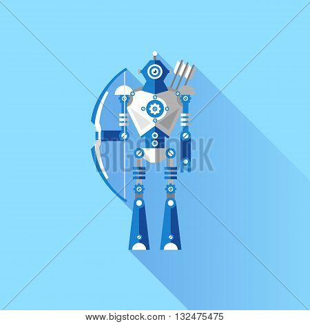 Vector illustration of a Robot knight and the Archer. Elements for illustrations and design on a blue background.
