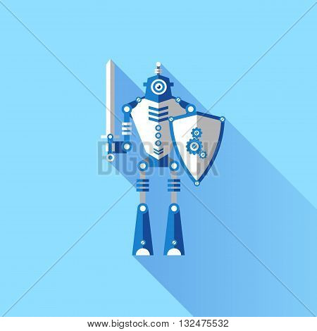 Vector illustration of a Robot knight with a sword. Elements for illustrations and design on a blue background.