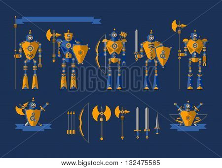 Set the robot knights in armor and various weapons such as arrows axe shield dagger on a blue background. Vector illustration with design elements for websites programs flyers posters and advertising