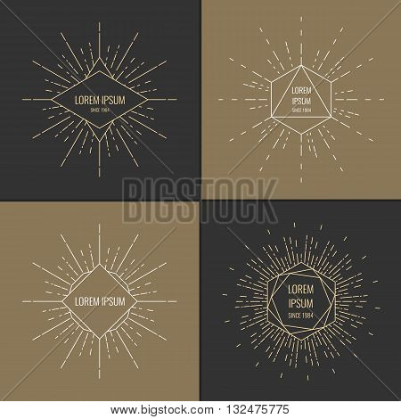 Vector illustration of Set of Vintage sunburst on a dark background.