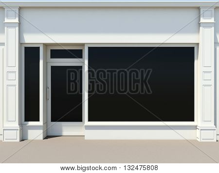 Shopfront with large windows. White store facade 3D rendering