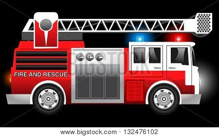 3D illustration of a Red Fire and Rescue truck with flashing lights .