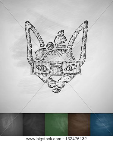 hipster sphynx cat icon. Hand drawn vector illustration. Chalkboard Design