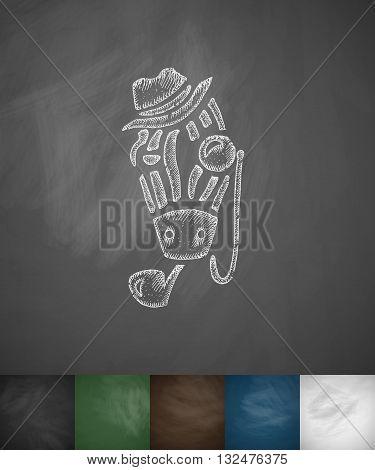 hipster zebra icon. Hand drawn vector illustration. Chalkboard Design