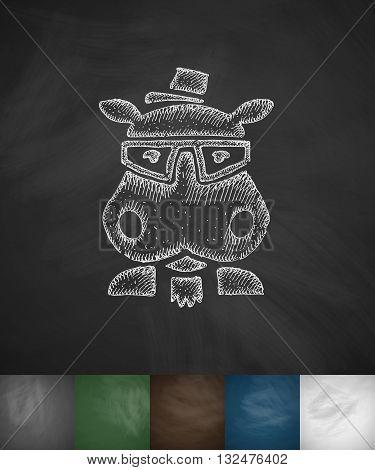 hipster hippo icon. Hand drawn vector illustration. Chalkboard Design