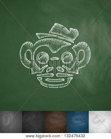 hipster monkey icon. Hand drawn vector illustration. Chalkboard Design