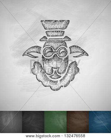 hipster sheep icon. Hand drawn vector illustration. Chalkboard Design