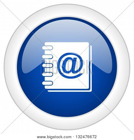 address book icon, circle blue glossy internet button, web and mobile app illustration