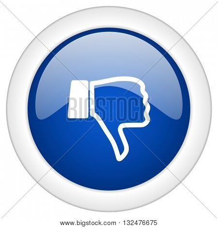 dislike icon, circle blue glossy internet button, web and mobile app illustration