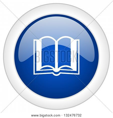 book icon, circle blue glossy internet button, web and mobile app illustration
