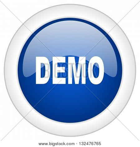 demo icon, circle blue glossy internet button, web and mobile app illustration