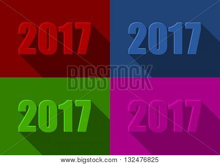 2017 new years flat design vector illustration.