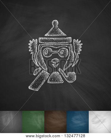 hipster penguin icon. Hand drawn vector illustration. Chalkboard Design