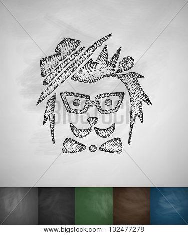 hipster hedgehog icon. Hand drawn vector illustration. Chalkboard Design