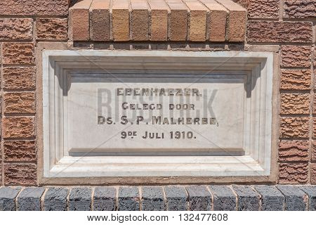STEYNSBURG SOUTH AFRICA - FEBRUARY 16 2016: Cornerstone of the Dutch Reformed Church in Steynsburg a small town in the Eastern Cape Province