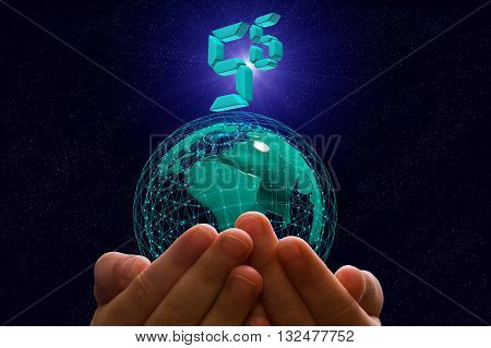 woman working in tablet computer using standard network 5g on the background of sunrise over the planet Earth 5g