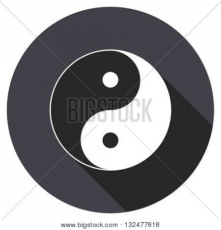 ying yang vector icon, round flat design button, web and mobile app illustration