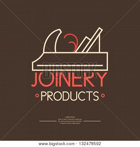 Vector illustration of Joinery on a brown background in linear style. Carpentry Logo. Element for poster advertising showcase and web design.