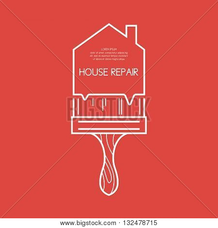 Vector illustration in a linear style with a brush and a field for your text for House repair. Elements and icons set for cards illustration poster advertising and web design.