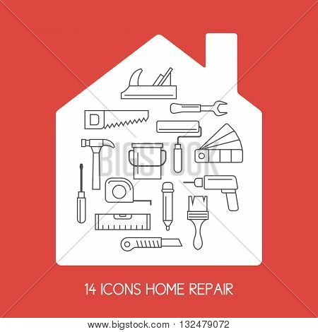 Set of Icons of tools on a white field in the form of the house on a red background for house repair. Elements and icons set for cards illustration poster and web design in a flat linear style