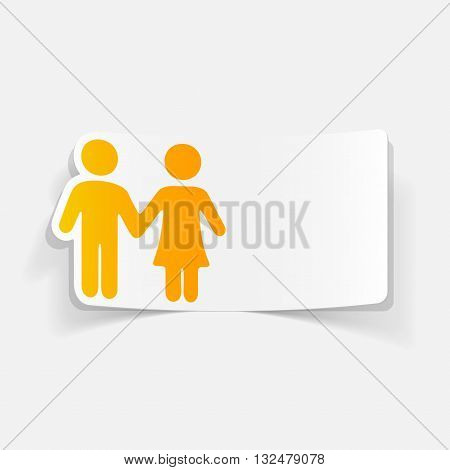 It is a illustration realistic design element: couple in love
