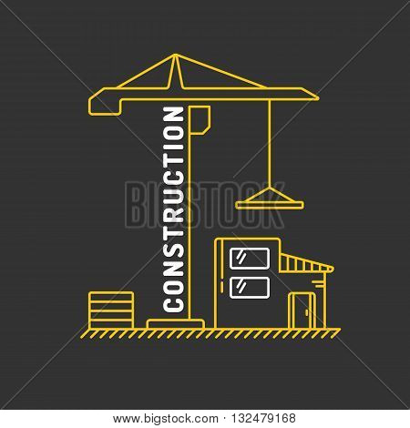 Vector illustration for the construction of a flat linear style with a construction crane on a black background. Elements for cards illustration poster and web design.
