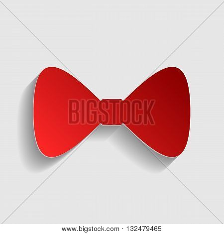 Bow Tie icon. Red paper style icon with shadow on gray.