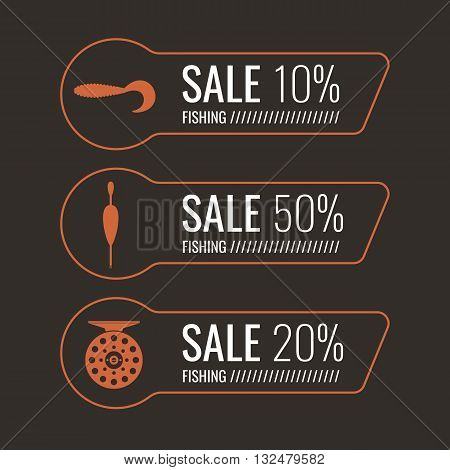 Set of vector illustrations for sale Fishing tackle. Fishing reels hooks bait. Vector elements. Icons and illustration for design site infographics poster advertising.