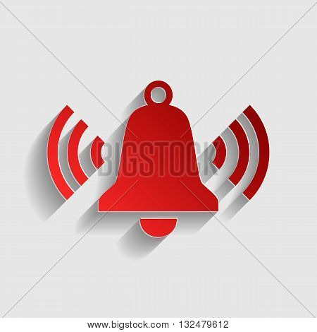 Ringing bell icon. Red paper style icon with shadow on gray.
