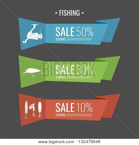 Set of vector illustrations for sale Fishing tackle in flat style.Fishing reels hooks bait. Vector elements. Icons and illustration for design site infographics poster advertising.
