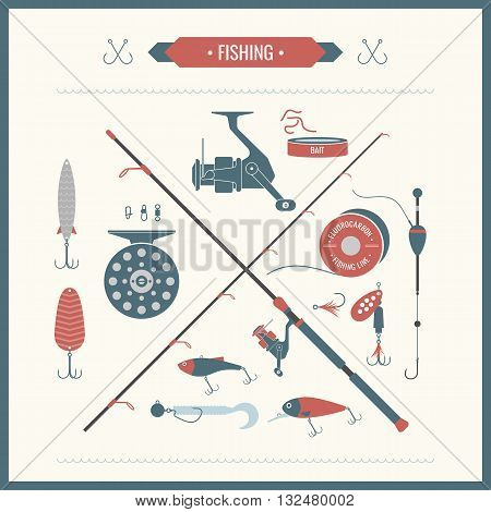 Set of vector Fishing tackle in flat style. Fishing reel hooks float lures bait. Elements Icons and illustrations for design website infographics posters and advertising on a light background